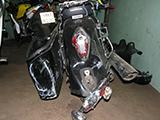 Повреждения мотоцикла Honda VTX 1300 S после ДТП вид сзади